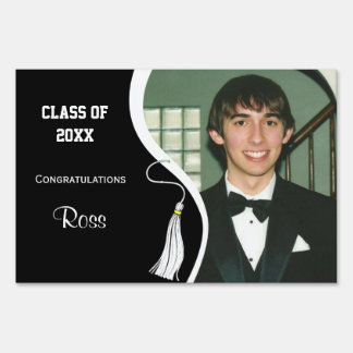 Customizable White Tassel Graduation Lawn Sign