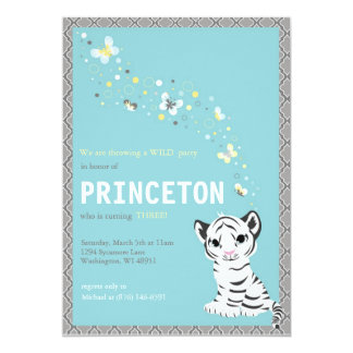 Customizable White Tiger Birthday Invitation