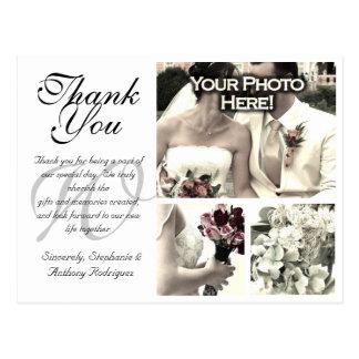 Customizable White Wedding Thank You Card 3 Photos