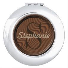Customizable Wood Monogram Compact Mirror