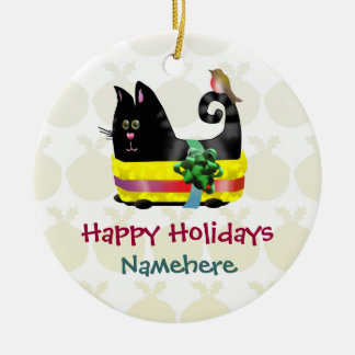 Customizable: Wrapper cat Ceramic Ornament