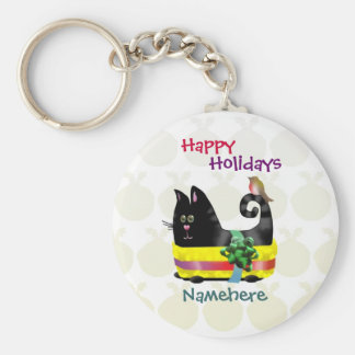 Customizable: Wrapper cat Basic Round Button Keychain