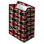 Customizable Xmas Santa Sugar Skulls Medium Gift Bag