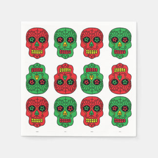 Customizable Xmas Sugar Skulls Disposable Napkin