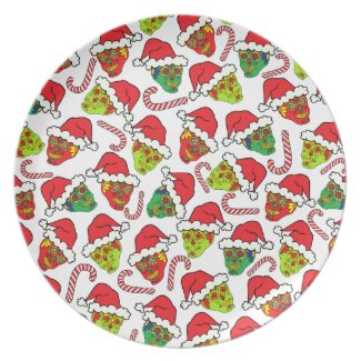 Customizable Xmas Sugar Skulls Party Plate