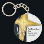 "Customizable Year Church Anniversary Keychain<br><div class=""desc"">The elegant black,  and white design with a gold cross will make a classy keychain to celebrate your event! Customize with your own text.</div>"
