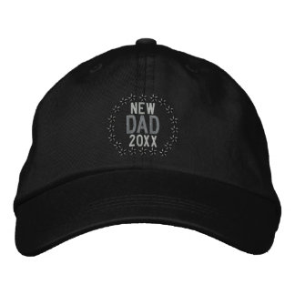 Customizable YEAR for New Dad Stars Embroidery Embroidered Hats