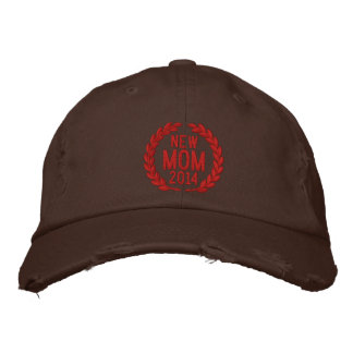Customizable YEAR for New Mom Laurels Embroidery Embroidered Baseball Cap