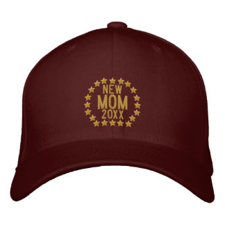 Customizable YEAR for New Mom Stars Embroidery Embroidered Baseball Cap