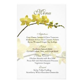 Customizable Yellow Orchids Wedding Menu Card