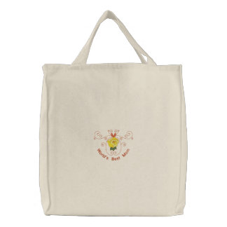 Customizable Yellow Rose Embroidered Tote