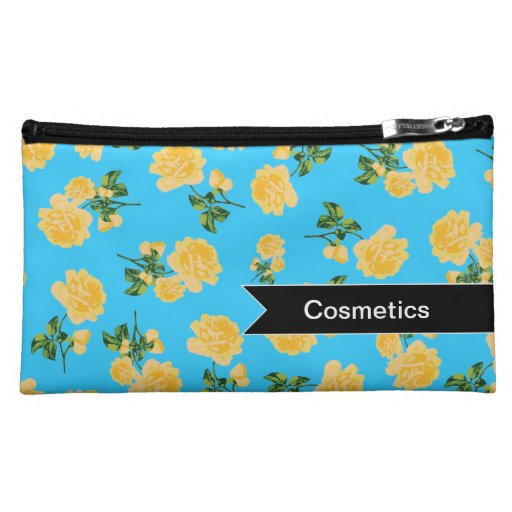 Customizable yellow roses on blue cosmetics bag cosmetic bag