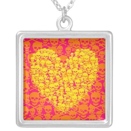 Customizable Yellow Skully Heart Silver Plated Necklace