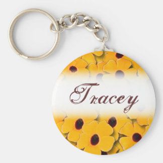 Customizable yellow spring flowers keychain