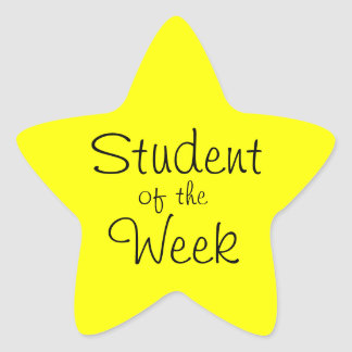 Customizable Yellow Star Student Of The Week Sticker