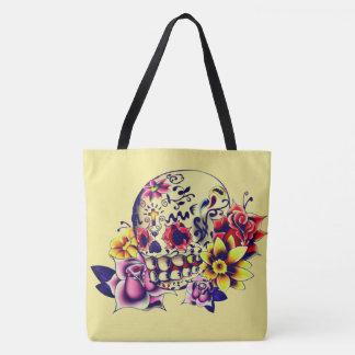 customizable yellow sugar skull all over tote bag