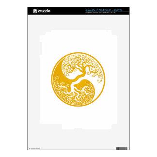 Customizable Yellow Tree of Life Yin Yang Skin For iPad 3