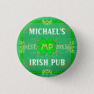 Customizable Your Name Irish Pub Green Button