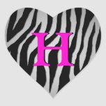 Customizable Zebra Heart Heart Sticker