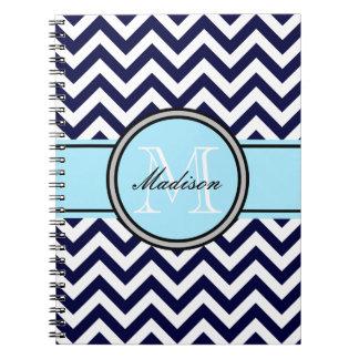 Customizable Zigzag Monogram Notebook in Navy