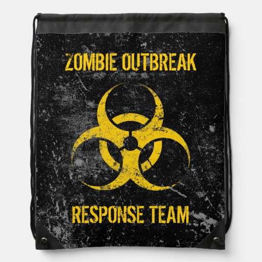 Customizable Zombie Outbreak Response Team Drawstring Backpacks