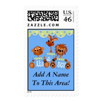 Customizable Zoo Animals It's a Boy Postage Stamps stamp