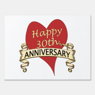 Customize 30th. Anniversary Lawn Sign