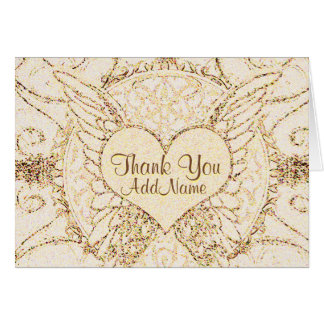 Customize Angel Wings and Heart Greeting Card