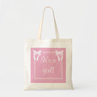 Customize Baby girl shower Pink tote bag