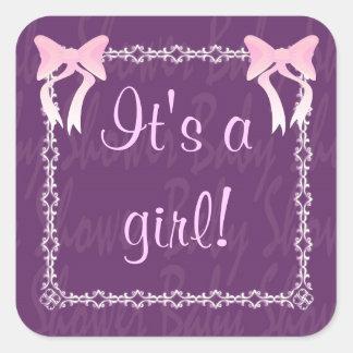 Customize Baby girl shower Purple square sticker