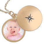 Customize baby photo round locket necklace
