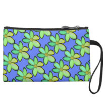 Customize Background Floral Pattern Suede Wristlet Wallet