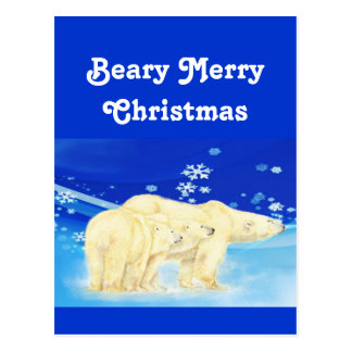 Customize Beary Merry Christmas Polar Bears Postcard