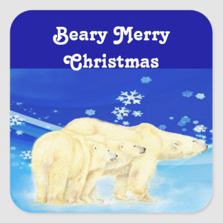 Customize Beary Merry Christmas Polar Bears Square Sticker