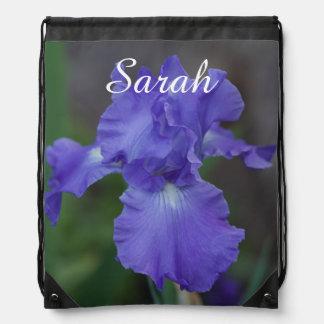 Customize Beautiful Blue Iris in Bloom Drawstring Bag