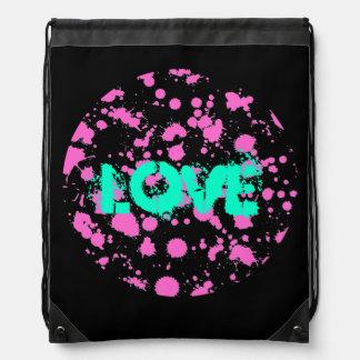 Customize Black and Fuschia Splatter Paint Art Cinch Bags