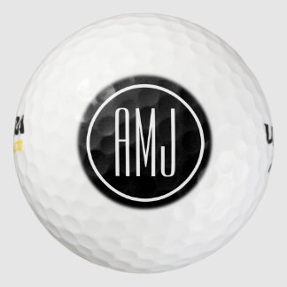 Customize black and white monogram golf balls