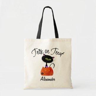 Customize Black Cat Trick or Treat Bag