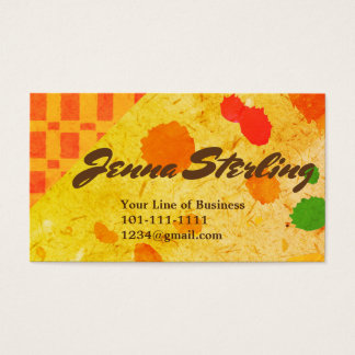 Customize both sides of Oat Paper and Tan Op Art Business Card