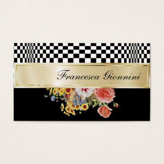 Customize both sides of Op Art, Floral and Gold Business Card