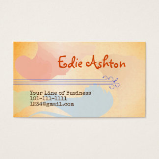 Customize both sides of Yellow Watercolor Business Card