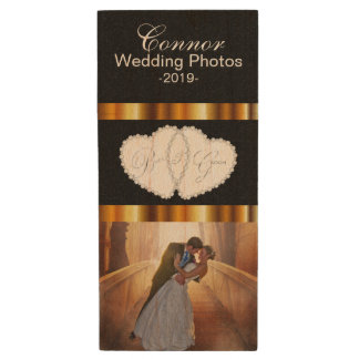 Customize Bride and Groom Wedding Photo Design Wood Flash Drive
