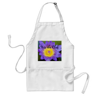 Customize Brilliant Blue Water Lily Bloom photo Adult Apron