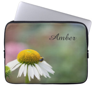 Customize - Busy Bee on Flower Black Text Laptop Sleeve