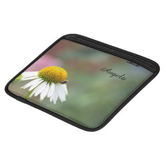 Customize - Busy Bee on Flower Black Text Sleeve For iPads