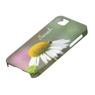 Customize - Busy Bee on Flower White Text iPhone SE/5/5s Case