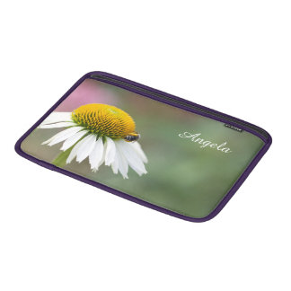Customize - Busy Bee on Flower White Text MacBook Air Sleeve