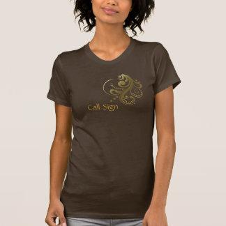 Customize Call Sign Women's Gold Scroll T-shirt