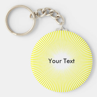Customize Circle Rays From Center Keyring Yellow Keychain