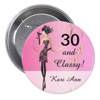 Customize Classy Birthday Button for Her Button